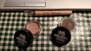 A few drugstore bases: Milani Shadow Eyes in Almond Cream, and Maybelline Color Tattoo in Nude Pink and Matte Brown