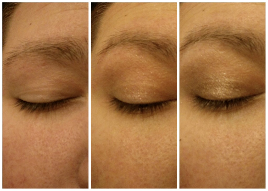 From left to right: a clean eye, then color blended out over the lid & crease, and finally, additional color added to the lid for more definition